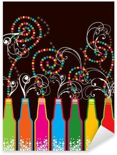 colorful retro pop new year bottles Sticker - Pixerstick