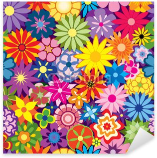 Colorful Seamless Repeating Flower Background Sticker - Pixerstick