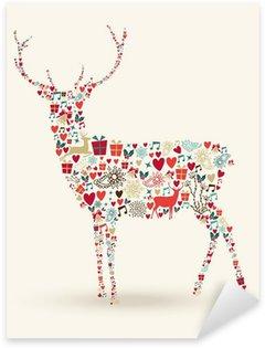 Sticker Pixerstick Composition de renne de Noël