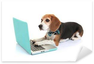 Sticker Pixerstick Concept d'entreprise chien utilisant un ordinateur portable