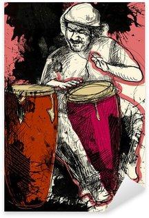 Sticker - Pixerstick conga player - a hand drawn grunge illustration