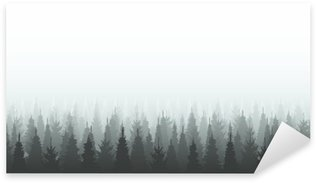 Sticker - Pixerstick Coniferous forest silhouette template. Woods illustration