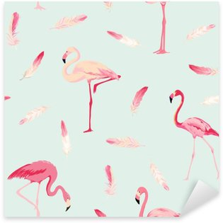Sticker Pixerstick Contexte Flamingo Bird. Contexte Flamingo Feather. Seamless Retro