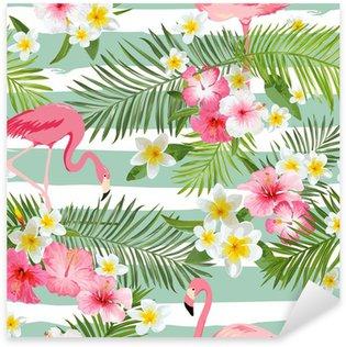 Sticker Pixerstick Contexte Flamingo. Tropical Contexte Fleurs. Seamless Vintage