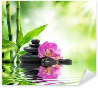 Sticker Pixerstick Contexte spa - orchidées pierres noires et de bambou sur l'eau