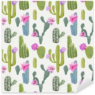 Sticker Pixerstick Contexte Vector Cactus. Motif continu. Plante exotique. Tropique