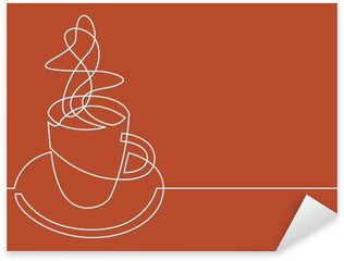 continuous line drawing of cup of coffee Sticker - Pixerstick