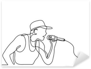 Sticker - Pixerstick continuous line drawing of singer with microphone