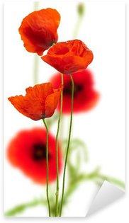Sticker Pixerstick Coquelicots sur fond blanc - rouge pavot, décor floral