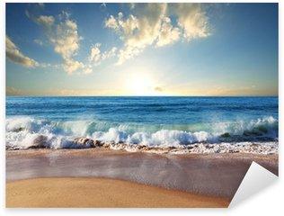 Sticker Pixerstick Coucher de soleil à la plage