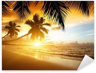 Sticker Pixerstick Coucher de soleil sur la plage de la mer des Caraïbes