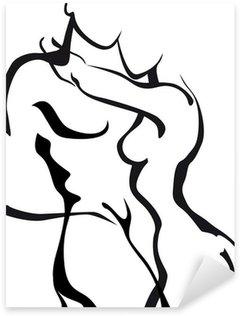 Sticker Pixerstick Couples dans l'amour