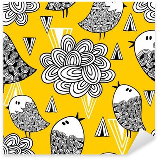 Creative seamless pattern with doodle bird and design elements. Sticker - Pixerstick