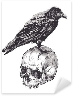 Sticker Pixerstick Crow Skull