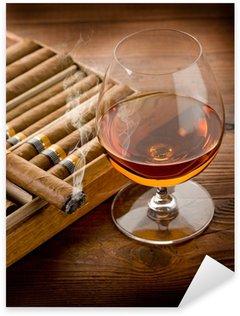 Sticker - Pixerstick cuban cigar and cognac on wood background
