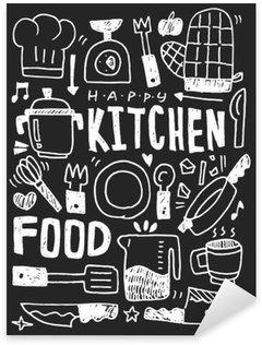 Sticker Pixerstick Cuisine éléments doodles main ligne tracée icône, eps10