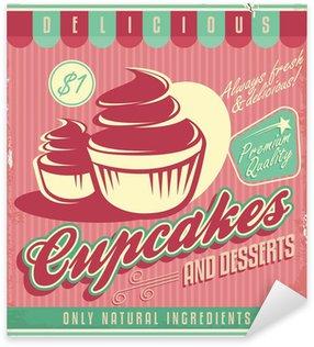 Pixerstick Sticker Cupcakes vintage poster ontwerp op gekrast grunge achtergrond