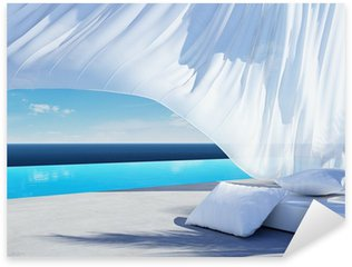 Curtain wind blow, lounge sofa bed, pool suumer holiday Sticker - Pixerstick