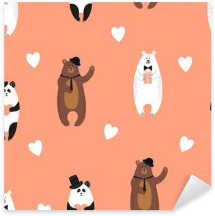 Cute bears pattern. Seamless romantic background with polar bear, brown bear and panda. Pixerstick Sticker