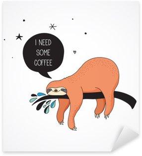 Cute hand drawn sloths illustrations, funny vector card design