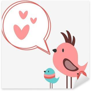 Sticker Pixerstick Cute oiseaux chantent des chansons d'amour