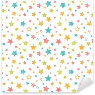 Cute seamless pattern with stars. Stylish print with hand drawn Sticker - Pixerstick