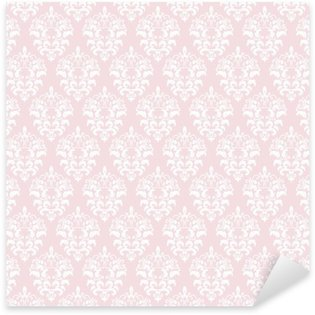 Pixerstick Sticker Damast naadloze patroon achtergrond in pastel roze.