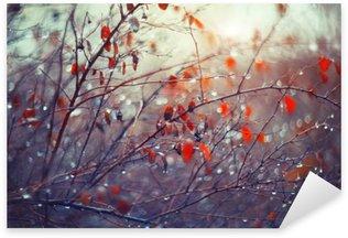 Sticker Pixerstick De fond avec des branches et des gouttes de pluie