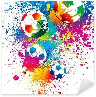 Pixerstick Sticker De kleurrijke voetballen op een witte achtergrond