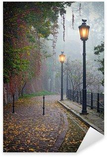 Pixerstick Sticker De mysterieuze steegje in mistige herfst tijd met verlichte lampen