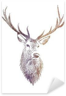 Sticker - Pixerstick deer head, vector