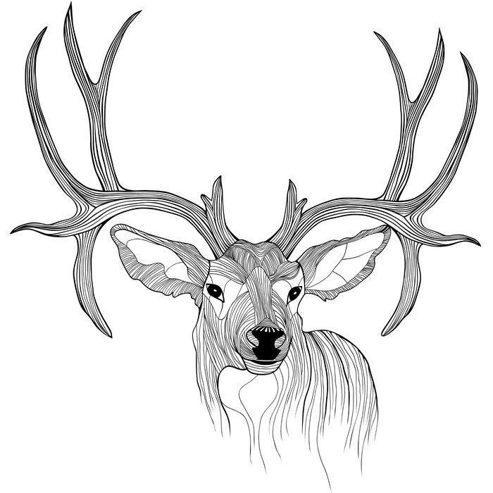 Sticker - Pixerstick Deer head - Science & Nature