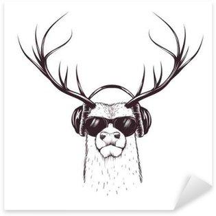 Sticker - Pixerstick deer in music headphones