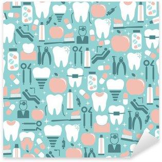 Pixerstick Sticker Dental Care Graphics op Blauwe Achtergrond