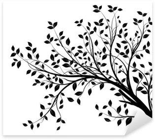 Sticker Pixerstick Des branches d'arbre silhouette fond blanc isolé