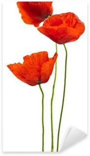 Sticker Pixerstick Design floral - coquelicots isolées sur fond blanc