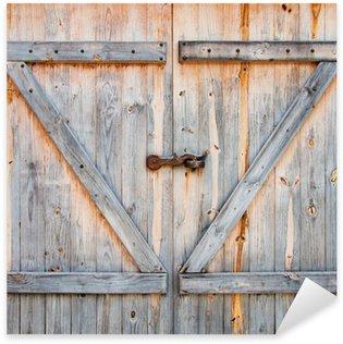 Sticker Pixerstick Détail de la porte de grange en bois