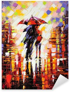 Sticker Pixerstick Deux amoureux sous un parapluie