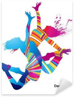 Sticker Pixerstick Deux danseuses avec des taches colorées et éclaboussures sur fond blanc