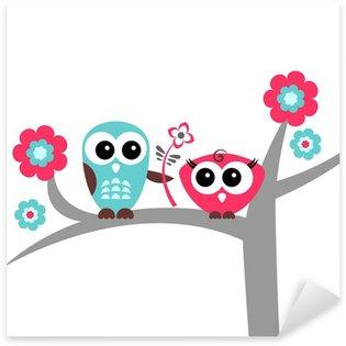 Sticker Pixerstick Deux hiboux mignons de carte romantique