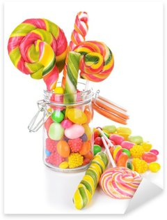 Different colorful fruit candy in jar isolated on white Sticker - Pixerstick