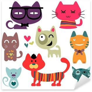 Sticker Pixerstick Différents chats drôles réglés