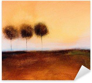 Pixerstick Sticker Dit is een abstract schilderij van 3 bomen