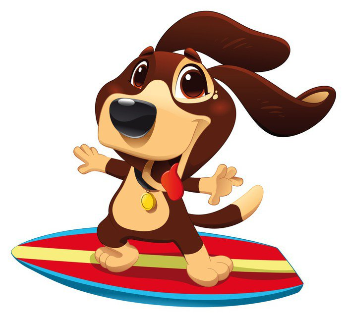 Sticker - Pixerstick Dog with surf. Funny cartoon and vector sporty character - Wall decals