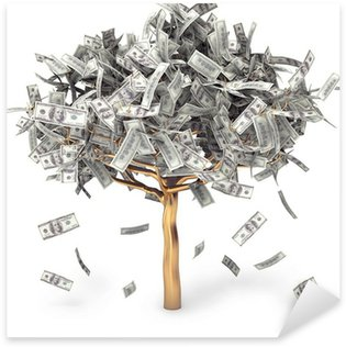 Dollar grows on a tree, money Tree, on a white background Sticker - Pixerstick