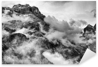 Sticker Pixerstick Dolomites Montagnes Noir et Blanc