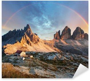 Sticker - Pixerstick Dolomites mountain in Italy at sunset - Tre Cime di Lavaredo