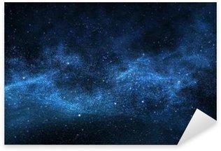 Pixerstick Sticker Donkere nachtelijke hemel met fonkelende sterren en planeten, illustratie