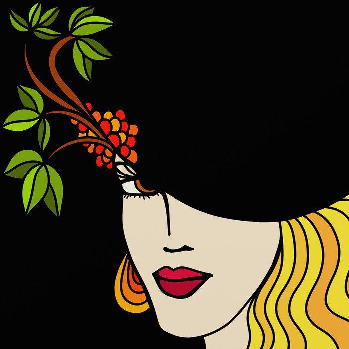 Sticker - Pixerstick donna con cappello a sfondo nero - Themes