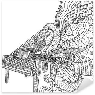 Sticker - Pixerstick Doodles design of piano for coloring book for adult and design element - stock vector